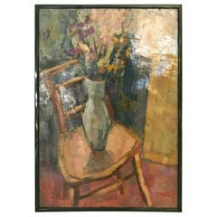 """20th Century French Oil on Canvas """"Bouquet on a Chair"""", 1940s"""