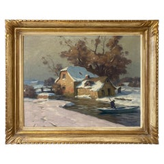 20th Century French Oil on Canvas Signed by Paul Eschbach, 1940s