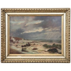 20th Century French Oil Painting on Canvas Signed Marine Subject with People