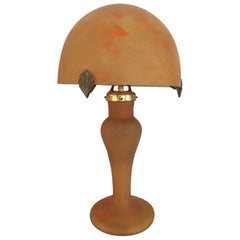 20th Century French Orange Molten Glass Table Lamp Signed Vincent Garnier, 1950s