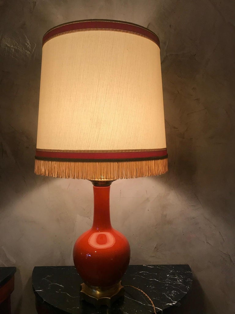 20th Century French Orange Opaline Glass and Brass Table Lamp, 1920s For Sale 5