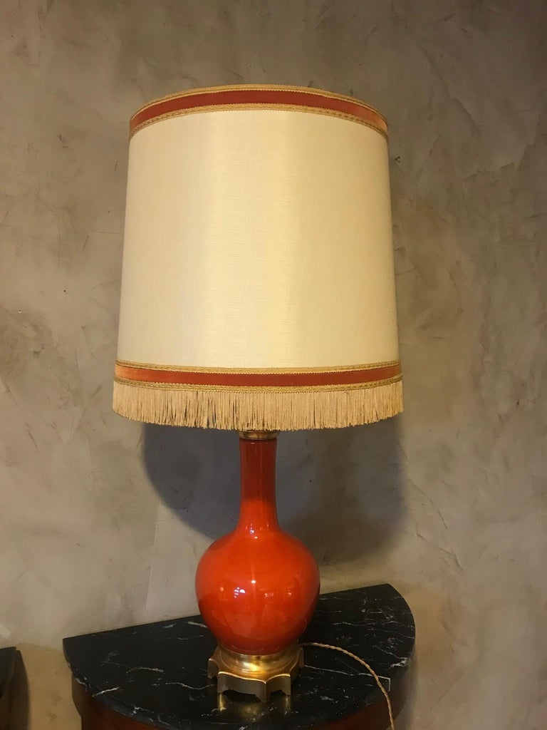 Early 20th Century 20th Century French Orange Opaline Glass and Brass Table Lamp, 1920s For Sale