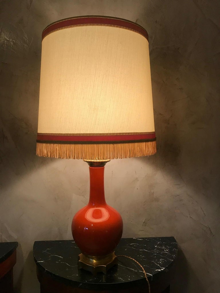 Fabric 20th Century French Orange Opaline Glass and Brass Table Lamp, 1920s For Sale