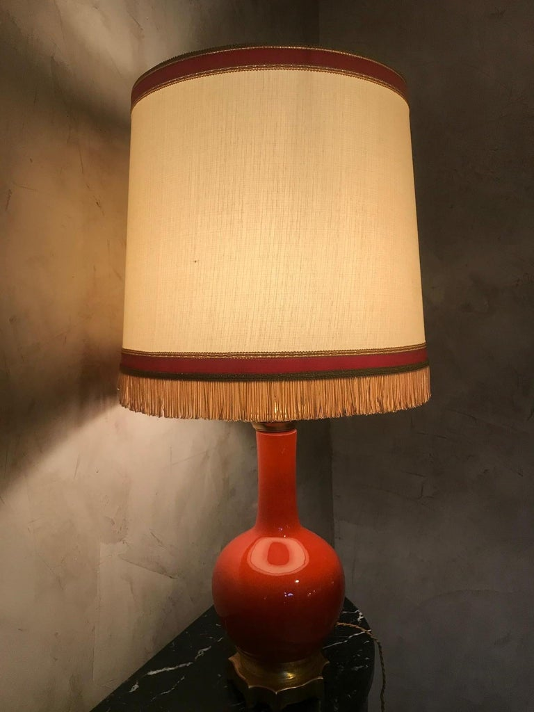 20th Century French Orange Opaline Glass and Brass Table Lamp, 1920s For Sale 1