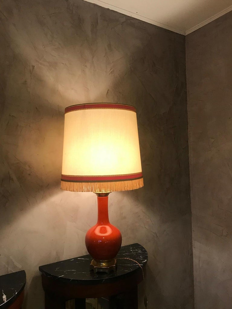 20th Century French Orange Opaline Glass and Brass Table Lamp, 1920s For Sale 2