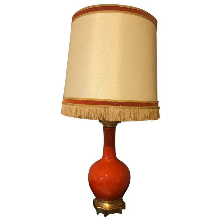 20th Century French Orange Opaline Glass and Brass Table Lamp, 1920s For Sale