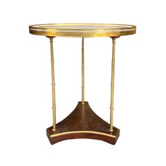 20th Century French Oval Mahogany and Brass Table, Marble Top, Stamped