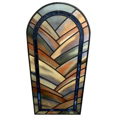 20th Century French Oval Stained Glass and Plexiglass Panel
