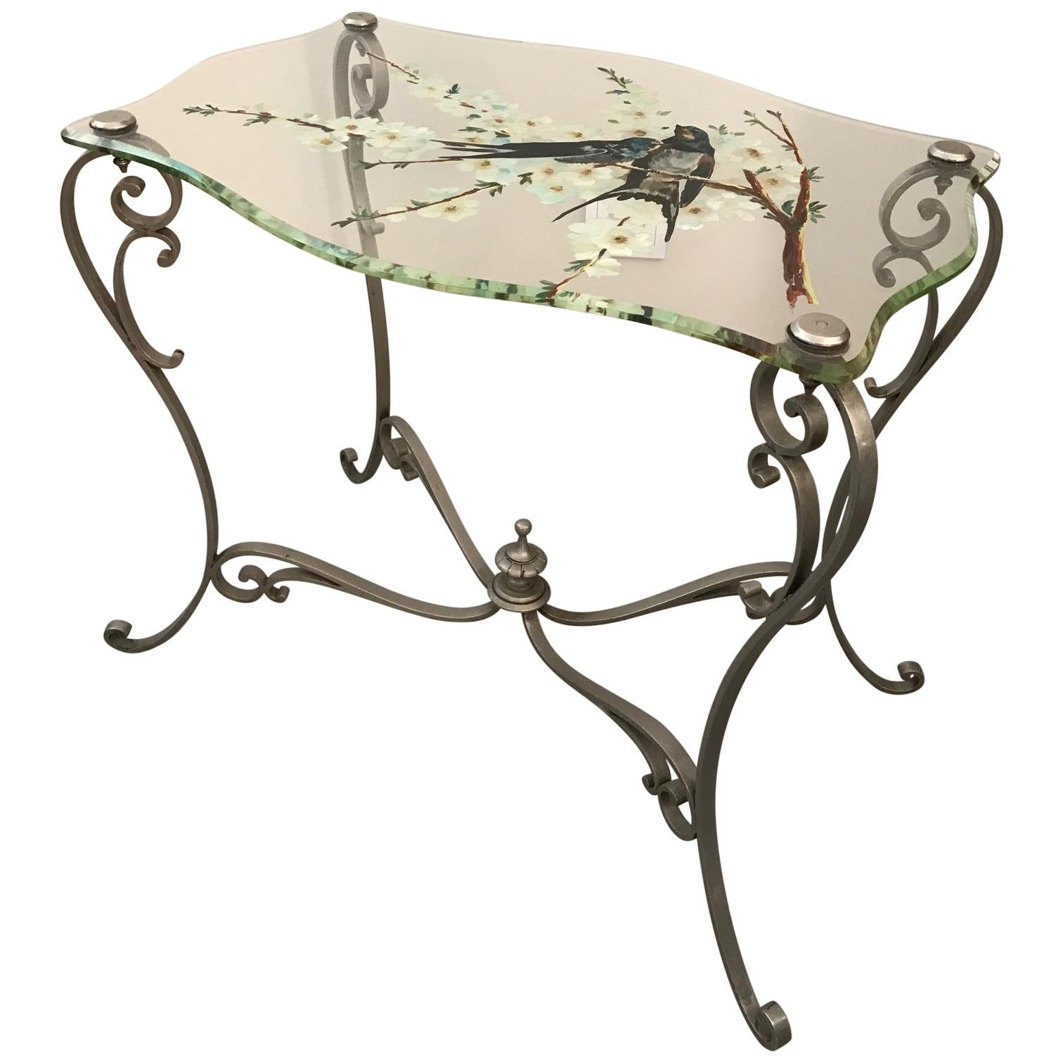 20th Century French Painted Glass and Metal Coffee Table, 1950s