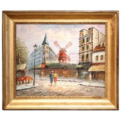 """20th Century French Painting """"Le Moulin Rouge"""" in Antique Frame Signed Burnau"""