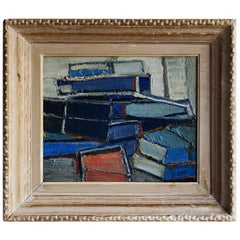 20th Century French Painting of Stacked Books by Daniel Clesse