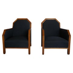 20th Century French Pair of Art Deco Beechwood Club Chairs