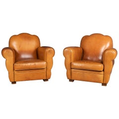 20th Century French Pair of Art Deco Style Leather Club Chairs, circa 1980