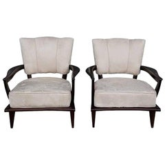 20th Century French Pair of Steiner, Beechwood Fauteuils by Etienne-Henri Martin