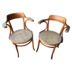 20th Century French Pair of Caned Desk Armchairs, 1900s