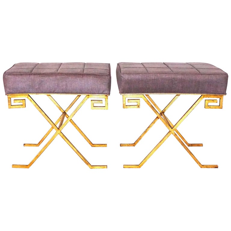 20th Century French Pair of Gold Iron Benches by Jean Michel Frank