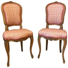 20th Century French Pair of Louis XV Reupholstered Chairs, 1950s
