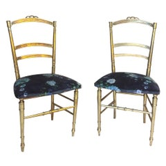 20th Century, French Pair of Louis XVI Style Gilded Bronze Chairs, 1930s