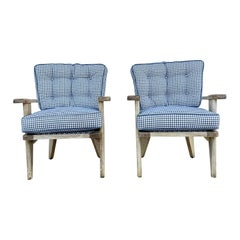 20th Century French Pair of Oakwood Spindle Chairs by Guillerme et Chambron