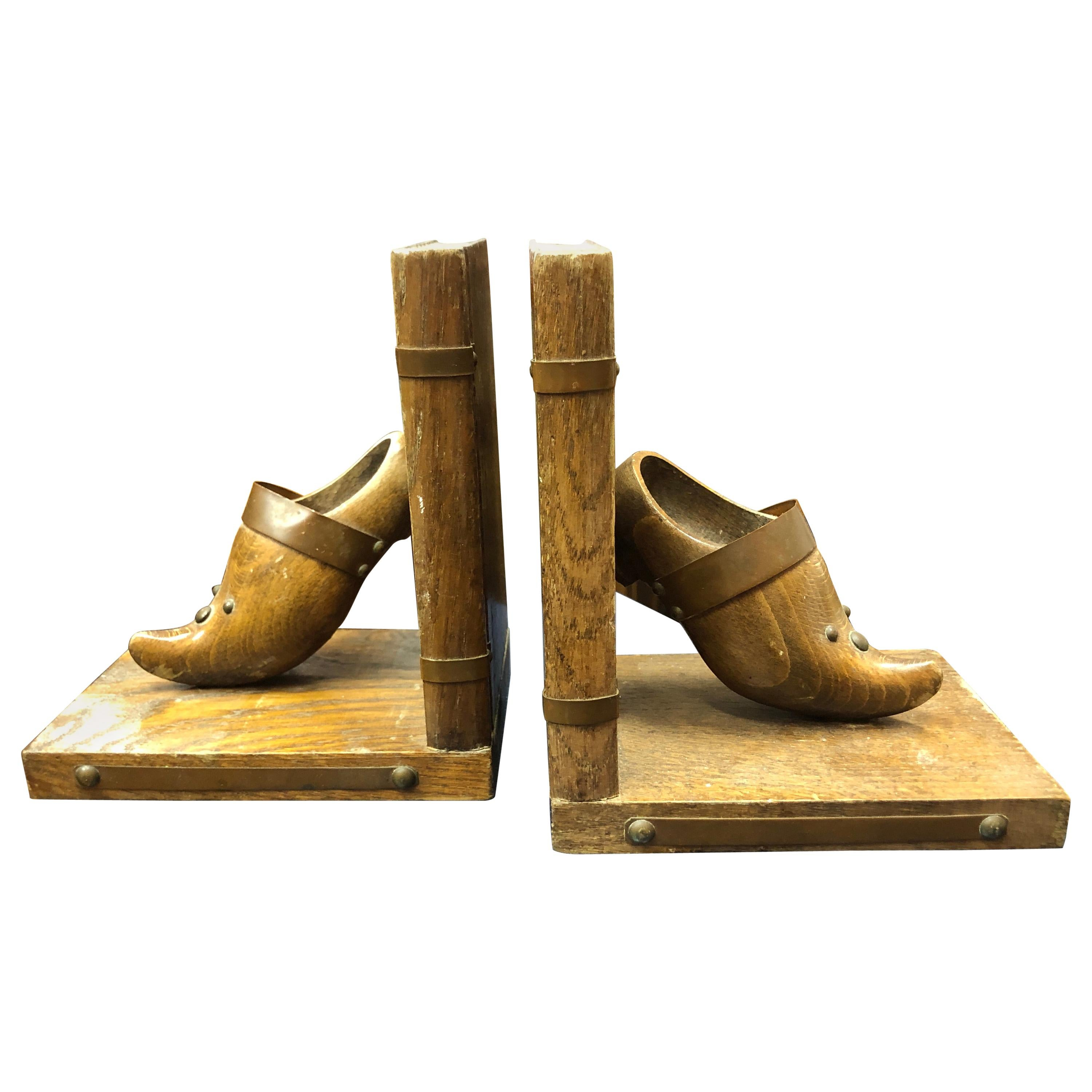 20th Century French Pair of Wooden Bookstands in Clogs Shape