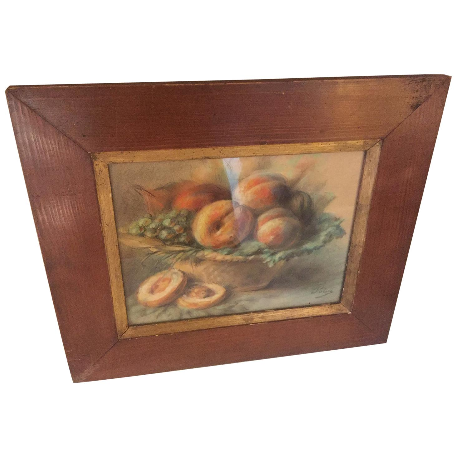 20th Century French Pastel Drawing Signed Polme, 1920s