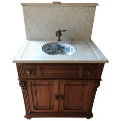 20th Century French Pitch Pine and Marble-Top Bathroom Cabinet, 1920s