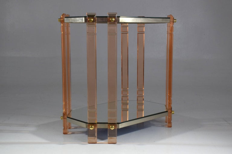 Hollywood Regency 20th Century French Plexiglass Etagere or Bar Cart  For Sale