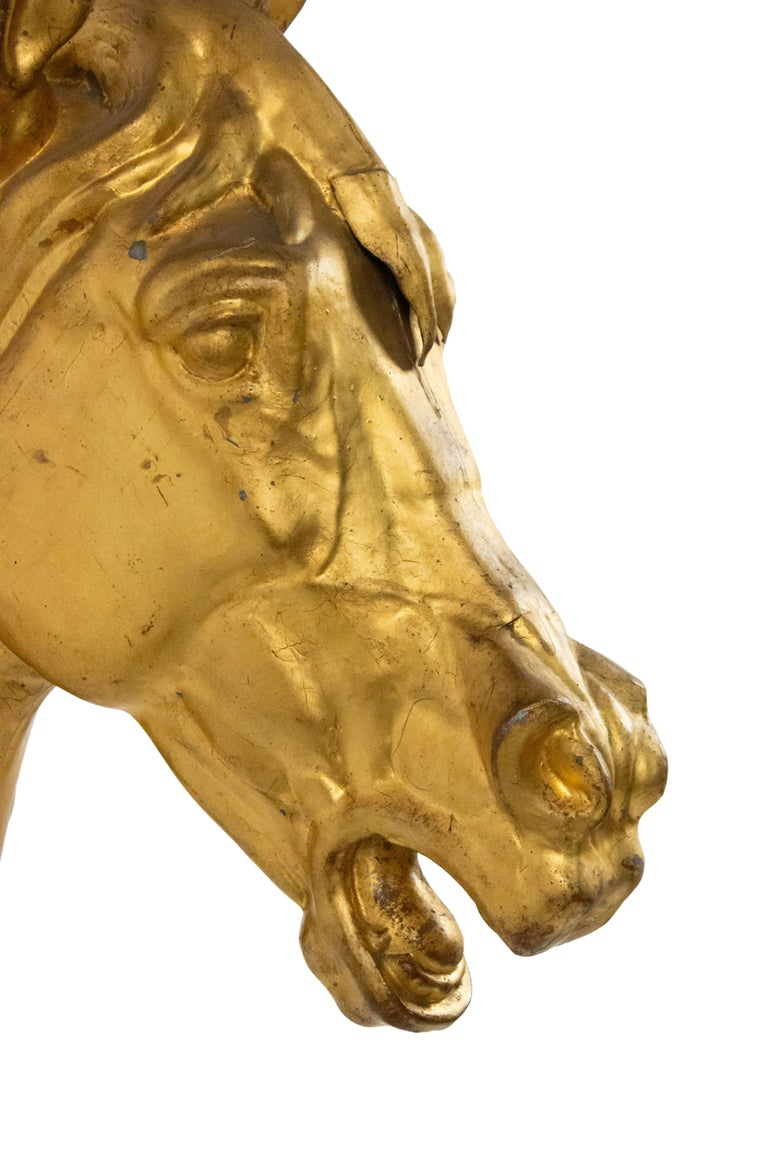 20th Century French Provincial Gilt Mounted Horse Head In Good Condition For Sale In New York, NY