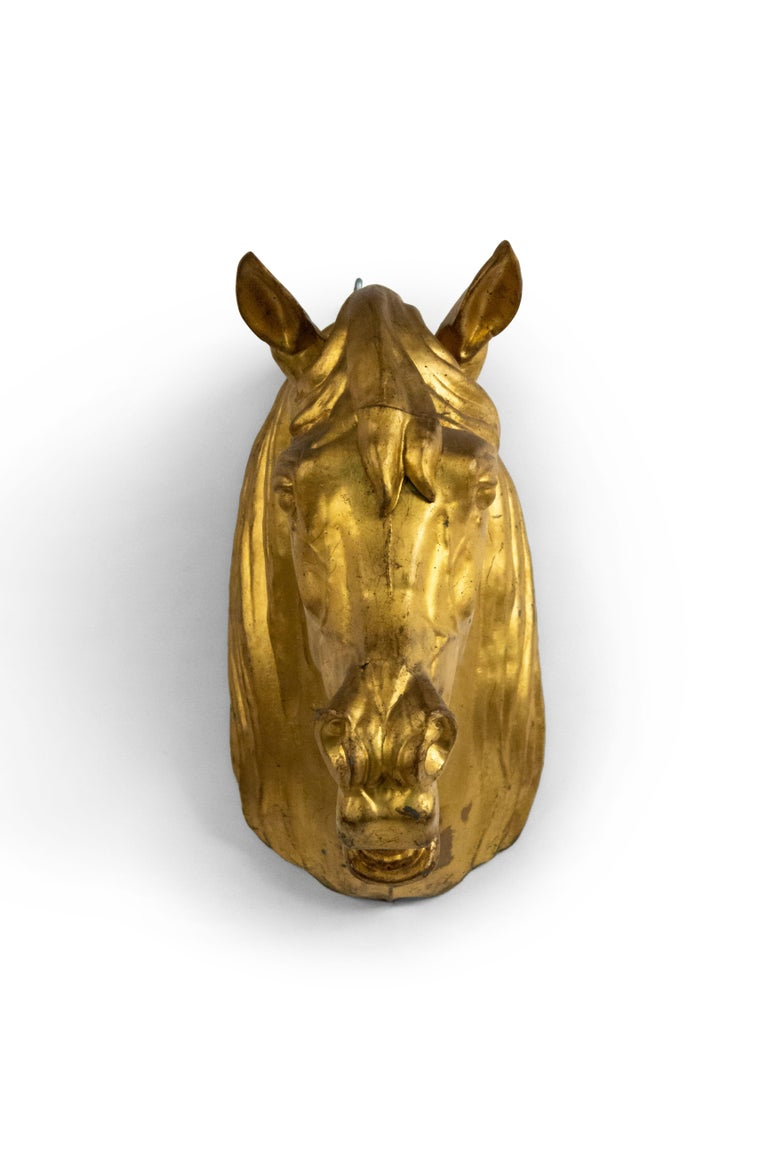 Metal 20th Century French Provincial Gilt Mounted Horse Head For Sale