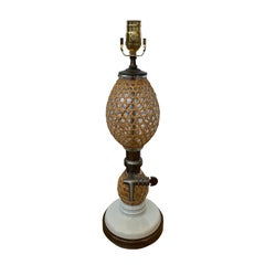 20th Century French Rattan Covered Glass Seltzer Bottle as Lamp