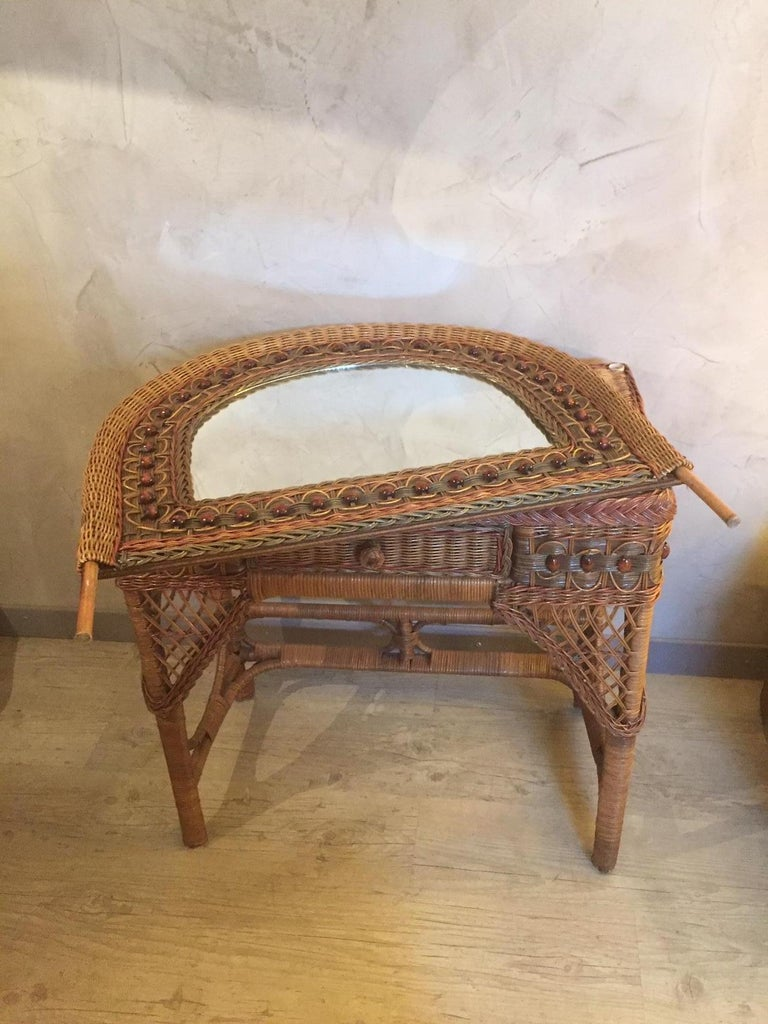 20th Century French Rattan Dressing Table 1960s At 1stdibs