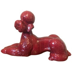 20th Century French Red Porcelain Poodle Dog Sculpture