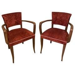 20th Century French Red Velvet Pair of Bridge Armchairs, 1950s