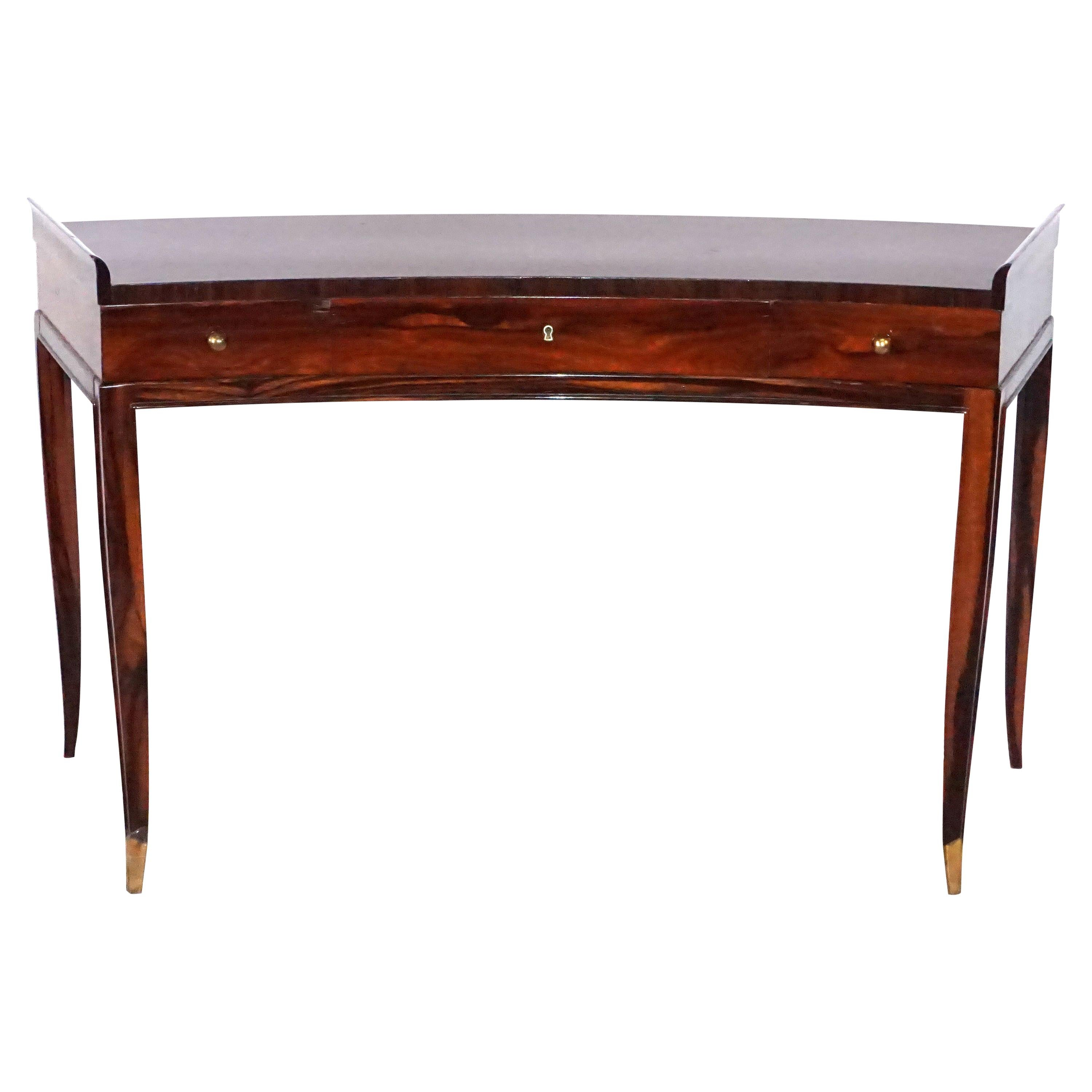 20th Century French Rosewood Three-Drawer Writing Desk