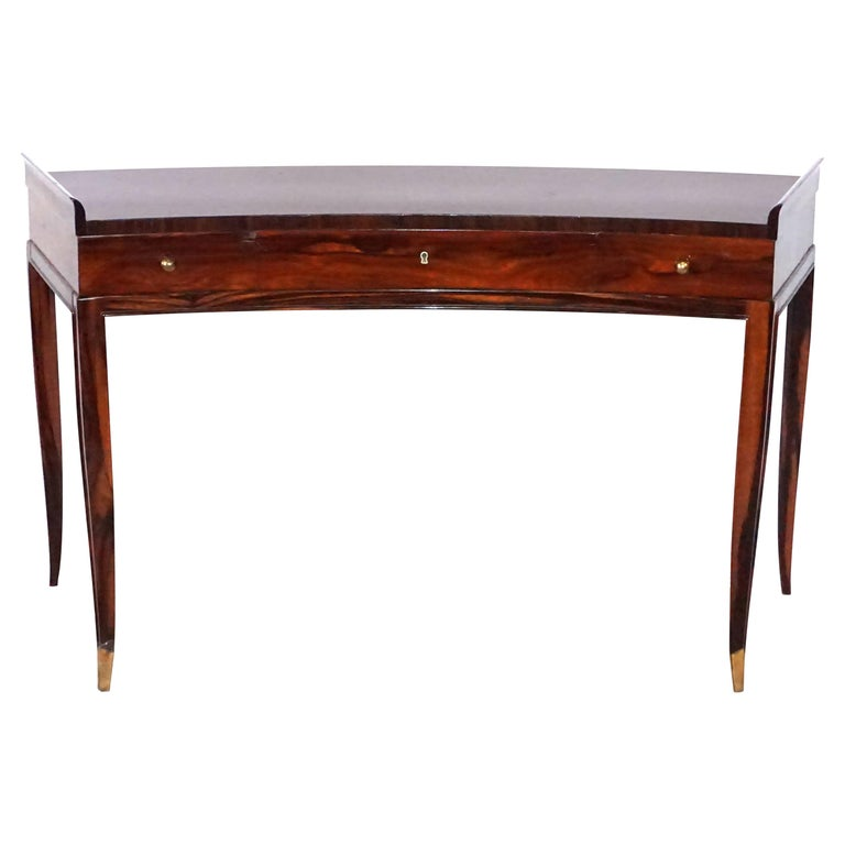 20th Century French Rosewood Three-Drawer Writing Desk For Sale