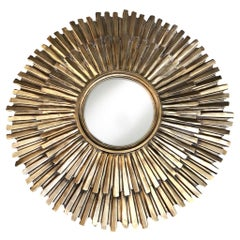 20th Century French Round Gilded Metal, Brass Sun Wall Mirror