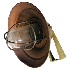 20th Century French Round Marine Lamp or Wall Sconce in Copper and Brass