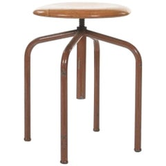 20th Century French Round Piano Stool Raised on Four Metal Legs