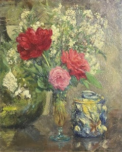 EARLY 20TH CENTURY FRENCH IMPRESSIONIST OIL - STILL LIFE FLOWERS IN VASE & JAR