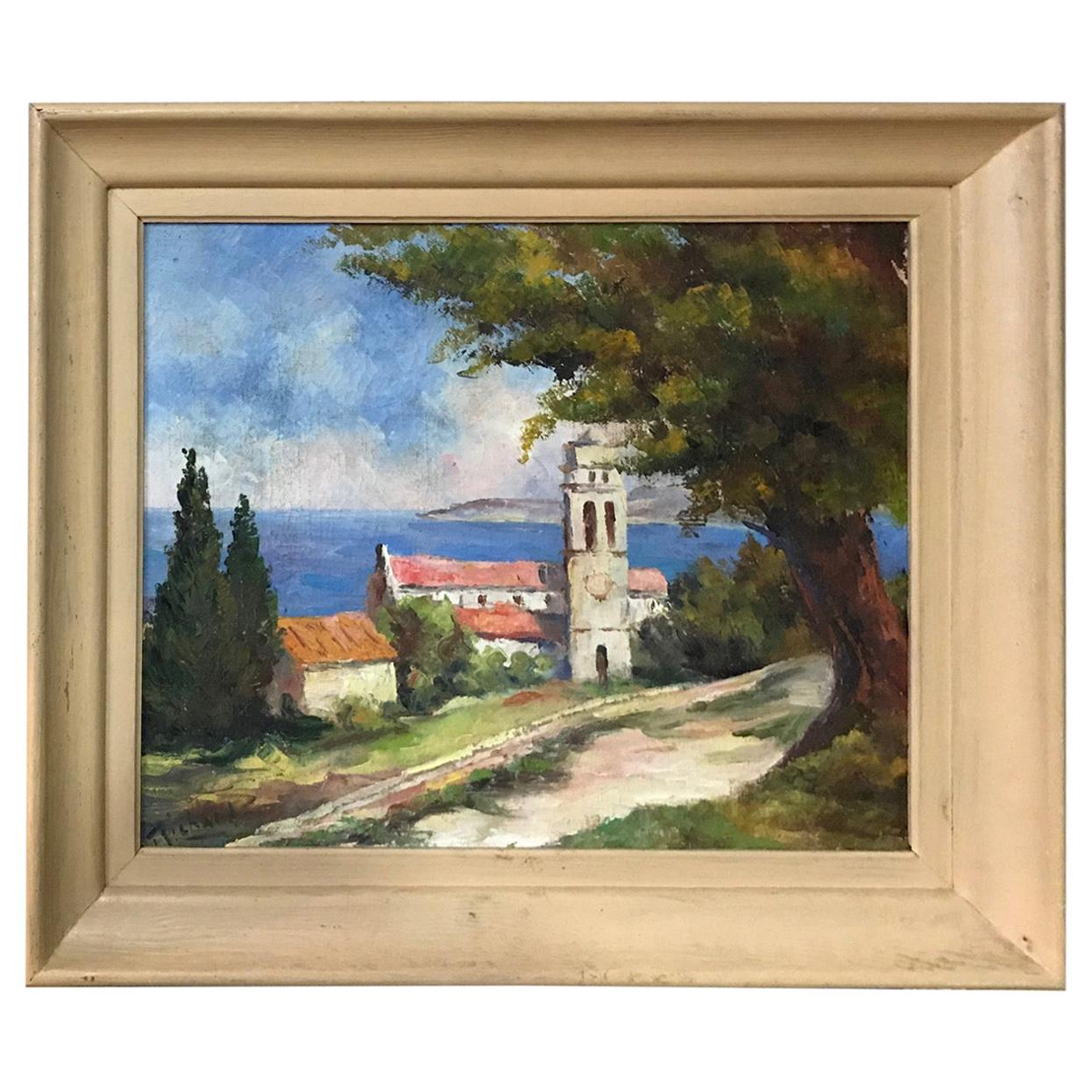 20th Century French Seaside Oil on Canvas Signed Richard, 1950s