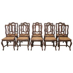20th Century French Series of Carved Solid Chestnut Chairs with Canapé 10 Pieces