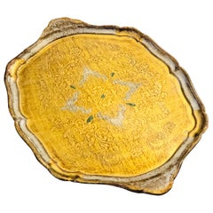 20th Century French Serving Tray in Giltwood with Floral Decoration
