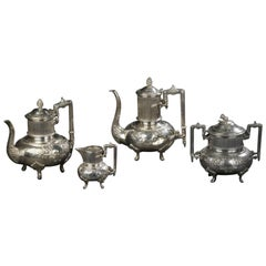 20th Century French Set of Silver Plated Decorated Coffee Pots by Armand Frenais