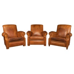 20th Century French Set Of Three Tan Leather Club Chairs, 1930s