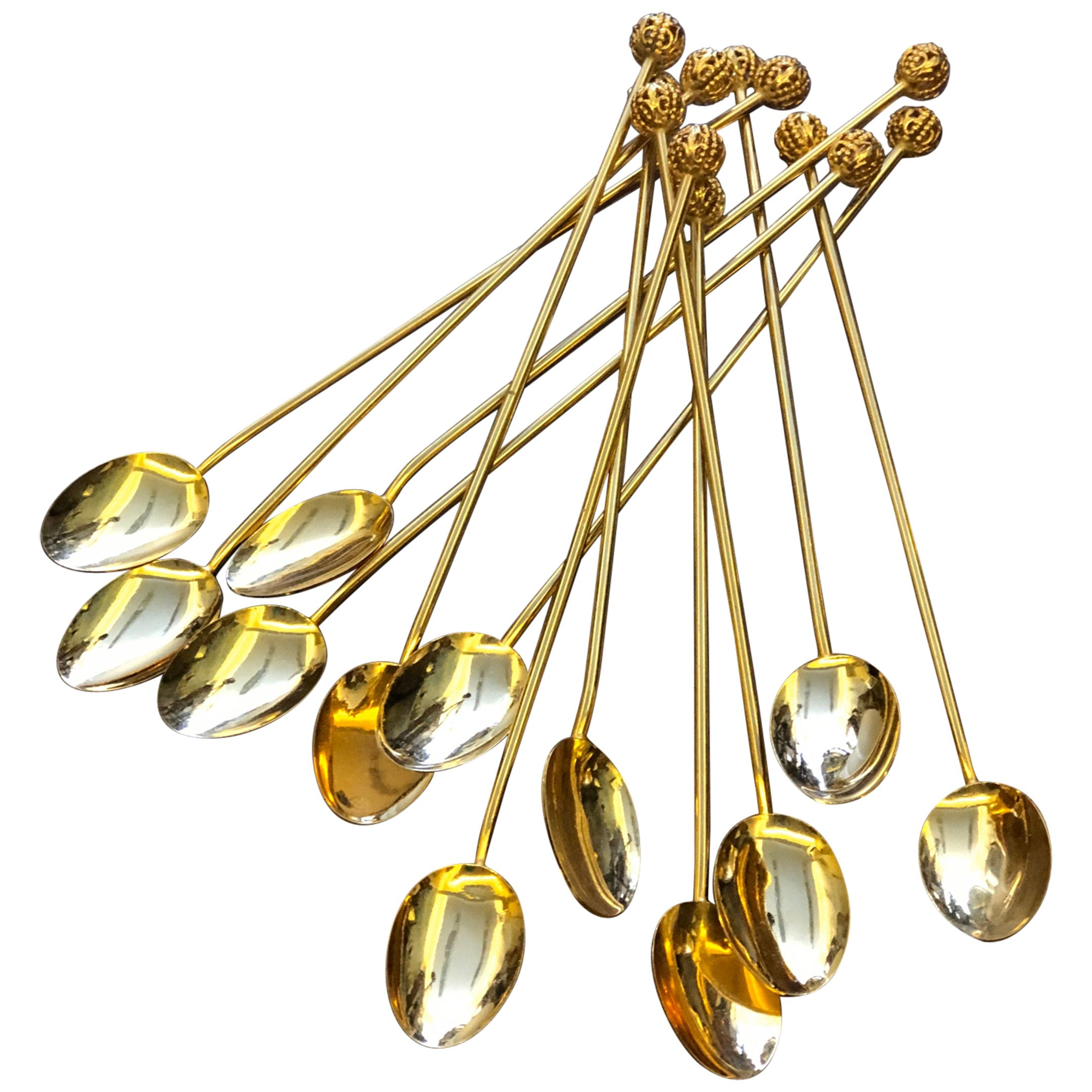 20th Century French Set of Twelve Gold-Plated Ice-cream Spoons