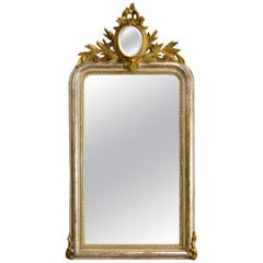 20th Century French Silver Leaf Gilt Mirror and Crest with Oval Mirror