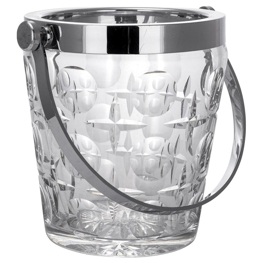 20th Century French Silver Plated & Cut Glass Champagne Ice Bucket, c. 1960