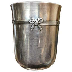 20th Century French Silver Small Cup with a Ribbon by Christofle