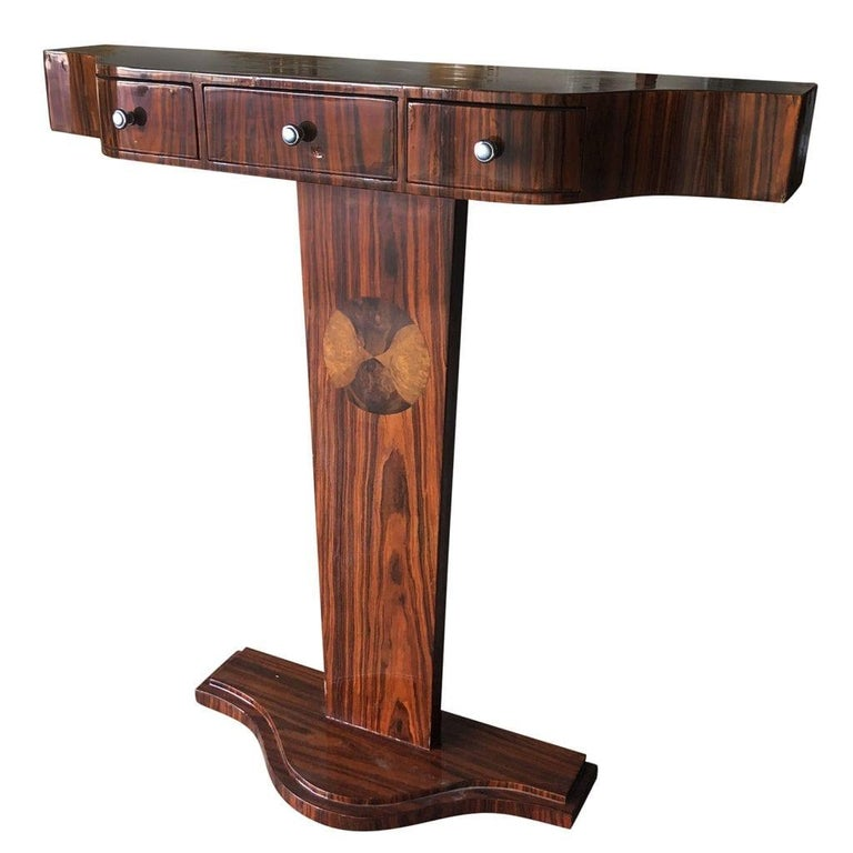 Hand-Carved 20th Century French Small Art Deco Macassar Wood Console Table For Sale