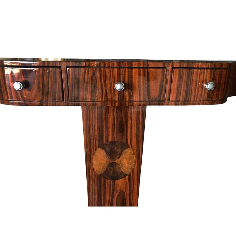 20th Century French Small Art Deco Macassar Wood Console Table For Sale 1